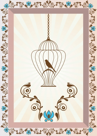 Retro stile colorful illustration of bird in a decorative cage Illustration