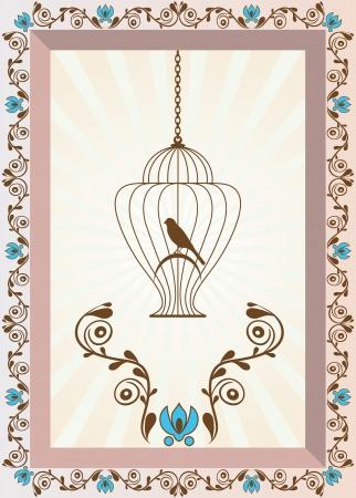 Retro stile colorful illustration of bird in a decorative cage 版權商用圖片 - 20881331