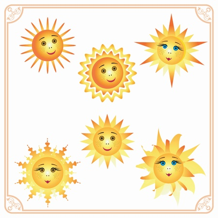 Six different colorful smiling sun inside the frame