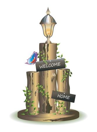 rekodzielo: Kolorowe ilustracje domu pozdrowienia drewnianych rękodzieła z latarnią i motyl