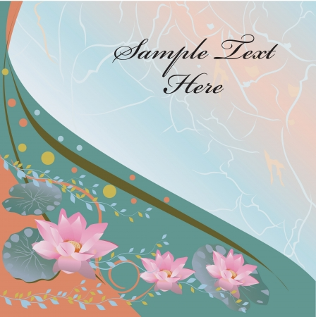 Colorful  abstract background with lotus flowers and leaves