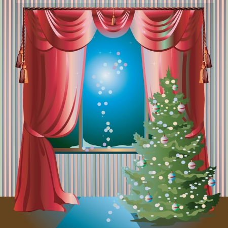 Colorful illustration with Christmas tree in the room near window; evening and red window curtains Çizim