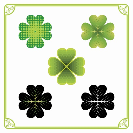 Colorful lucky four-leaf clovers inside ornamental frame