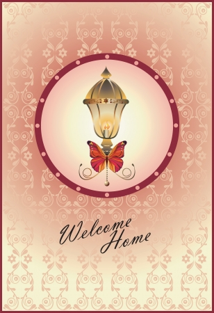 Welcome home background with garden lantern and butterfly on floral elements
