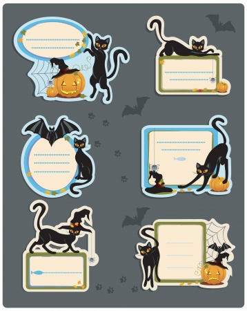 Six different Halloween labels with black cats