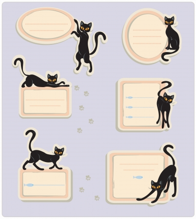 Six different labels with black cats