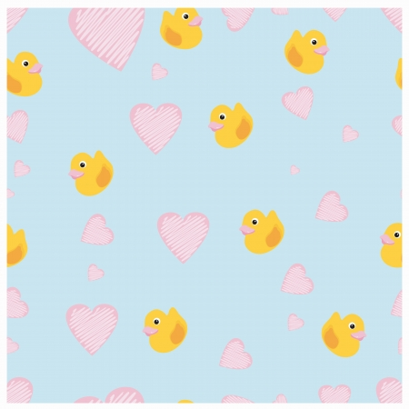 Ducks and hearts on a blue seamless