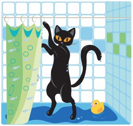 猫とアヒル風呂