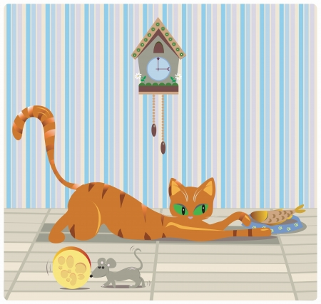 Cat and mouse having lunch in a room with a clock Vector