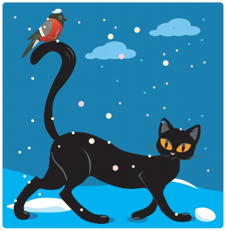 Cat walking on snow with a bird on the tail