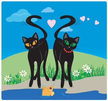 Vector cat lovers on the lake with hearts and fish