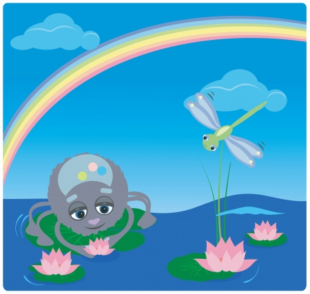 spider and a dragonfly with a rainbow and a lotus Vector