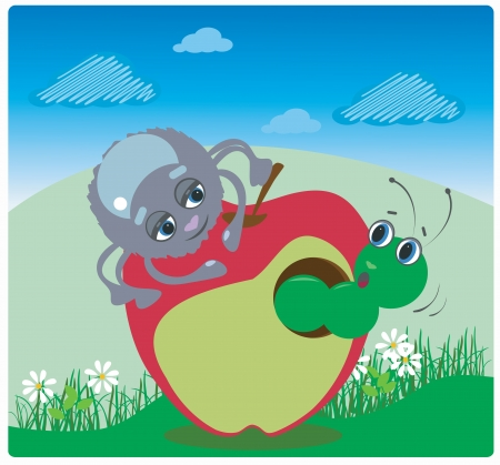 funny spider and caterpillar with an apple Çizim