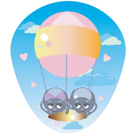 Funny spiders are flying in a pink balloon Stock Vector - 21073145