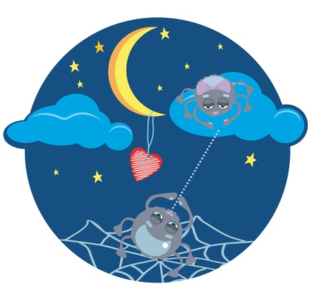 Funny spiders at night with the moon and heart