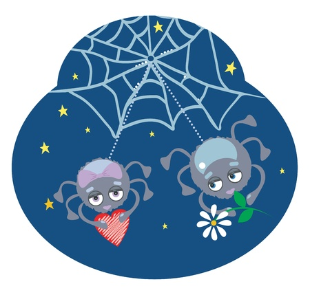 Funny spiders at night with chamomile and heart Vector