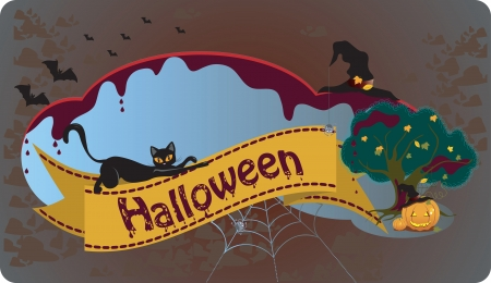 Festive Halloween background with cat Stok Fotoğraf