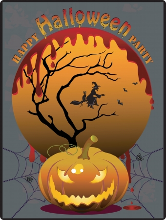 halloween party: Colorful Halloween party invitation Stock Photo
