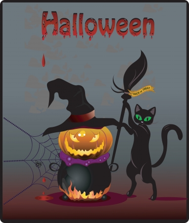 Colorful Halloween party invitation and background