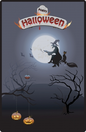 Colorful Halloween party invitation and background photo
