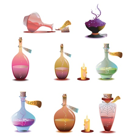 poison bottle: Collection Halloween bottles of potions Stock Photo