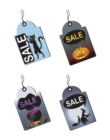 Halloween sale tags with a witch,potion,pumpkin and cat