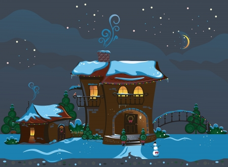 Illustration of the Christmas street with a house and snowman Çizim