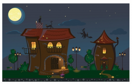 Illustration of the Halloween street with a house and cats