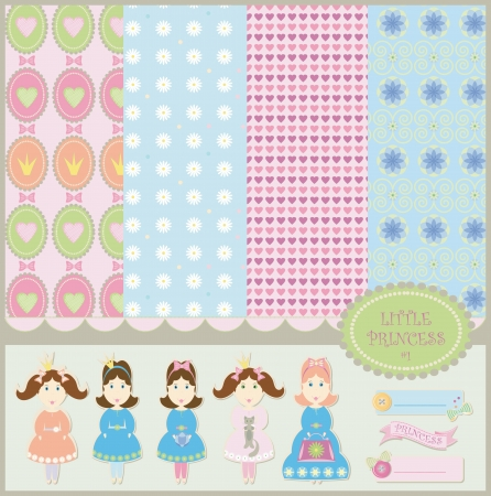 Princess baby backgrounds scrapbooking collection Çizim