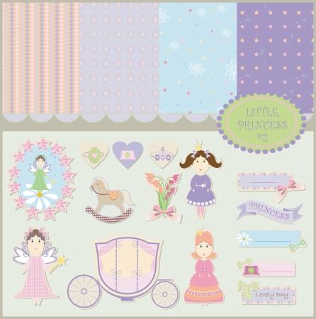 공주 아기 배경 스크랩북 컬렉션