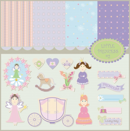 baby girl: Princess baby backgrounds scrapbooking collection Illustration