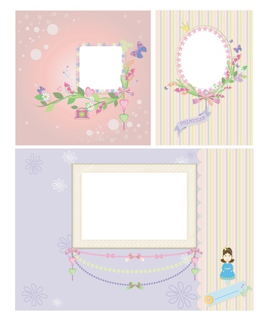 Princess baby frame and background scrapbooking Vector
