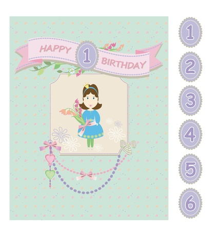 Princess baby birthday greeting card