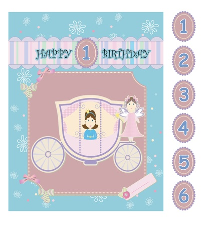 Princess baby birthday greeting card with coach and fairy Vector