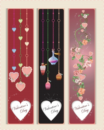 Vector Valentines Day Banners with hearts and flowers