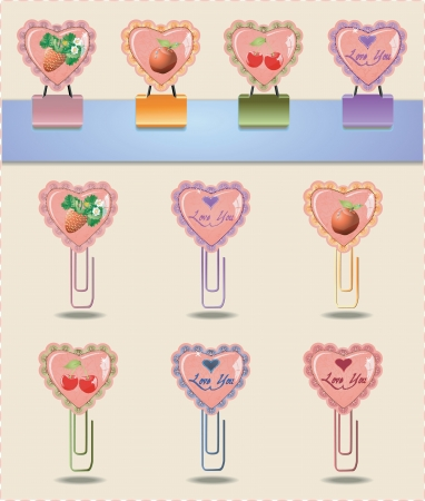 Collection of staples and paper clips with hearts and fruit