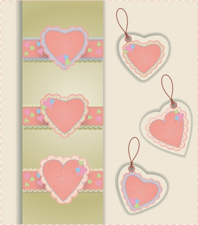 Vector collection of hearts tags