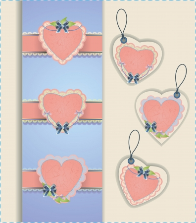Vector collection of hearts with ribbons Çizim