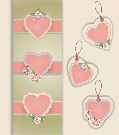 Vector collection of hearts with roses Çizim