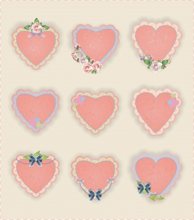 Vintage vector heart stickers with flowers and bows