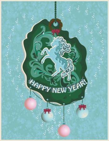Greeting card with a symbol of Horse 2014 year