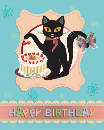 Funny vector Cat birthday greeting card Vector