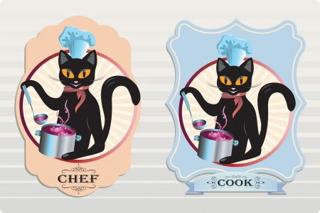 Vector cat chef and cook soup labels Çizim