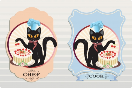 Vector illustration of a cat with berry cake Çizim