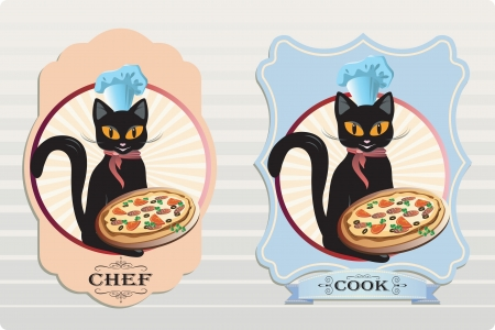 Vector cat chef and cook Pizza labels Çizim