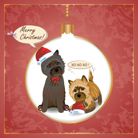 Vector Christmas greeting card with terrier dog Çizim