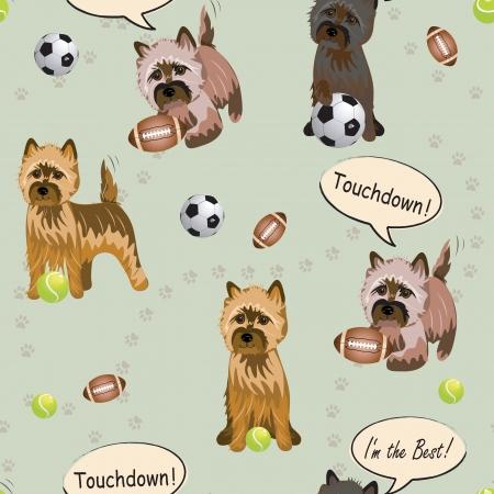 seamless: Vector Cairnterrier dog pattern seamless sport Illustration