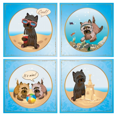 terrier: Vector Cairnterrier dog summer sea vacation collection