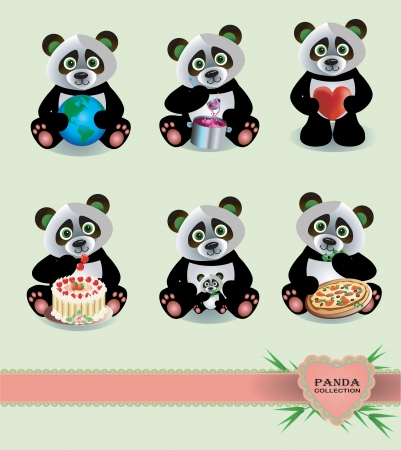 Vector funny Panda collection with bamboo cake and earth Çizim