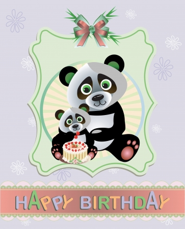 baby and mother: Funny Panda birthday greeting card Illustration